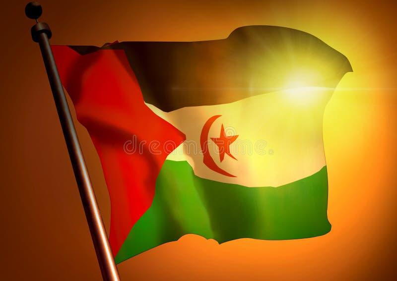 反对日落的挥动的西撒哈拉旗子 免版税库存照片