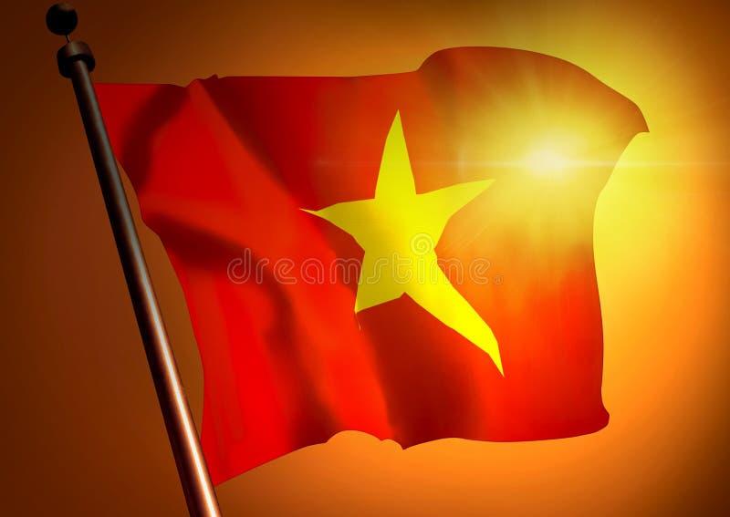 反对日落的挥动的越南旗子 免版税库存照片