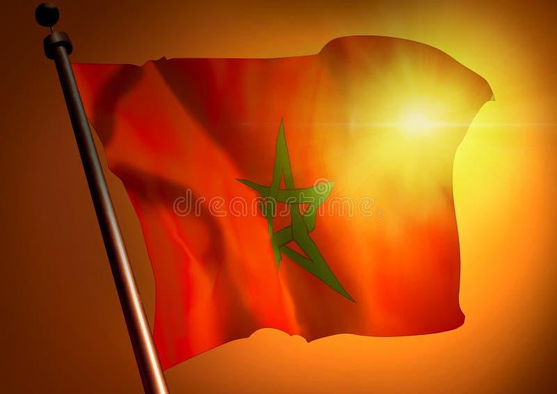 反对日落的摩洛哥旗子 免版税库存图片