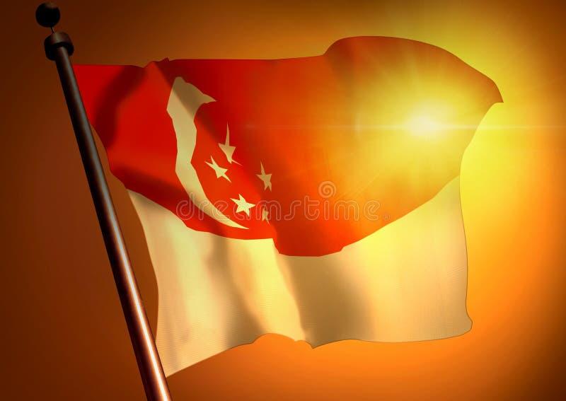 反对日落的新加坡旗子 免版税库存照片