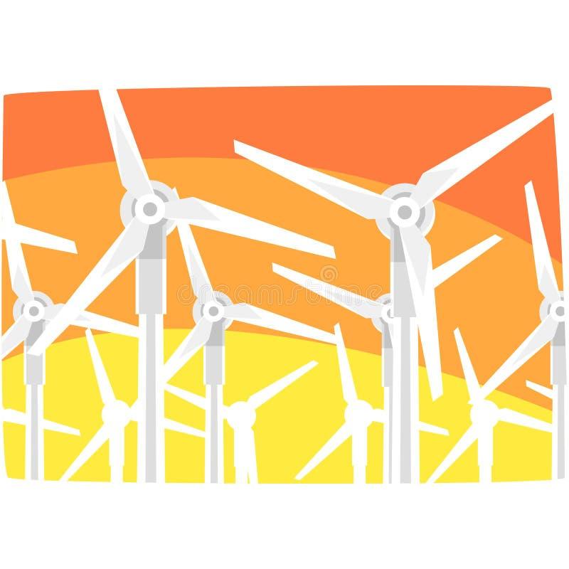 反对晚上天空的风力驻地,生态能量制造驻地,更新资源水平的传染媒介 库存例证
