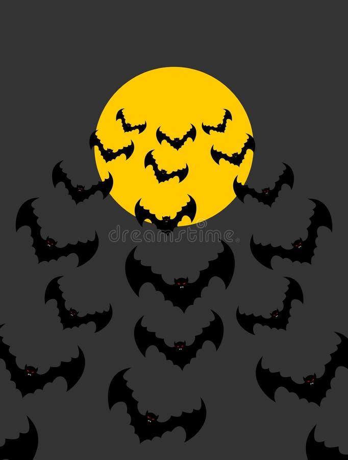 反对月亮背景的飞行吸血鬼  束可怕棒 库存例证