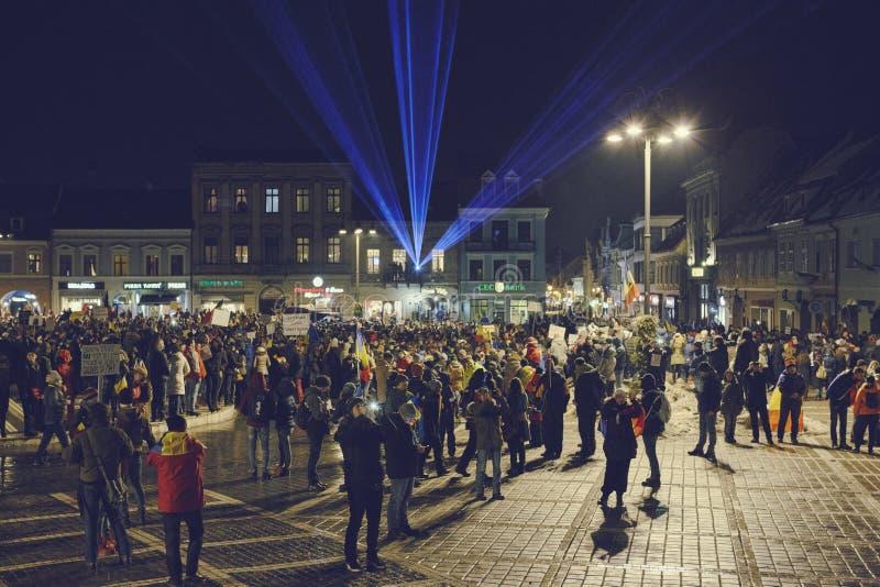 反对有争议的低落,布拉索夫,罗马尼亚的抗议 免版税图库摄影
