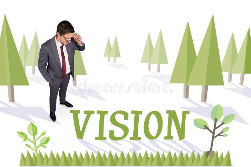 反对森林的视觉有地球树的 向量例证