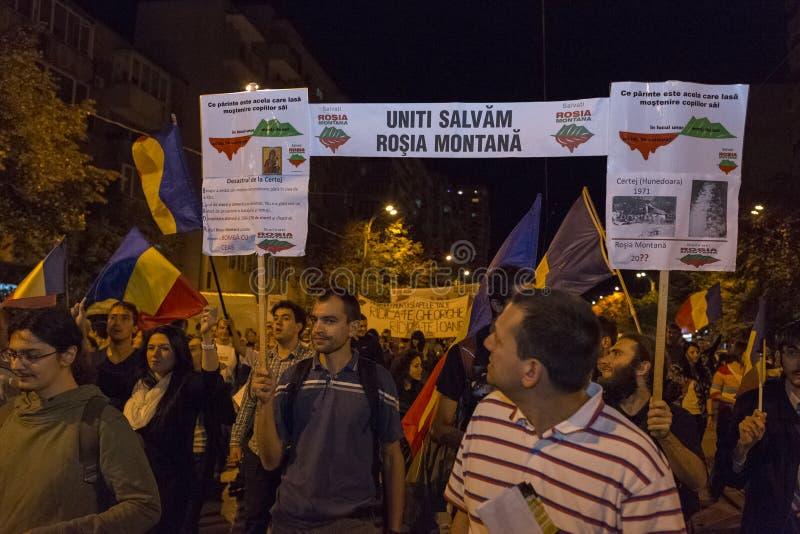 反对氰化物金提取的抗议在罗希亚蒙塔讷 库存图片