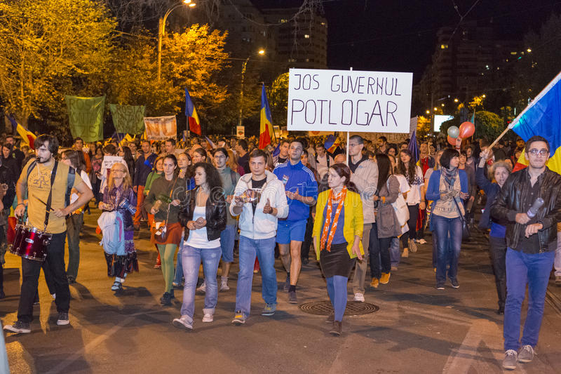 反对氰化物金提取的抗议在罗西亚  免版税图库摄影
