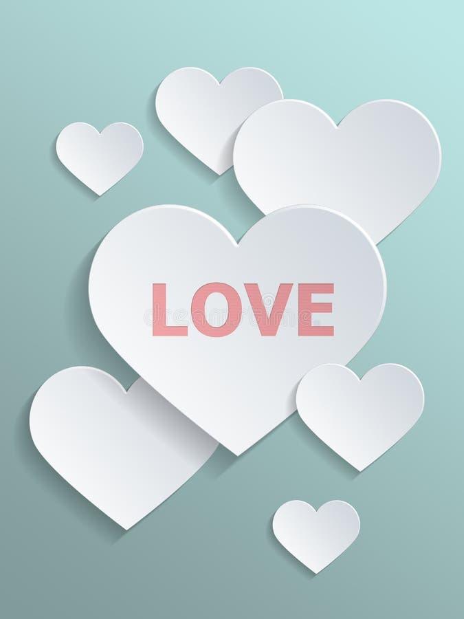 反对浅灰色的绿色的概念性白色心脏 库存例证
