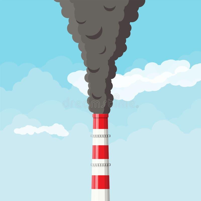 反对清楚的天空的抽烟的工厂管子与云彩 库存例证