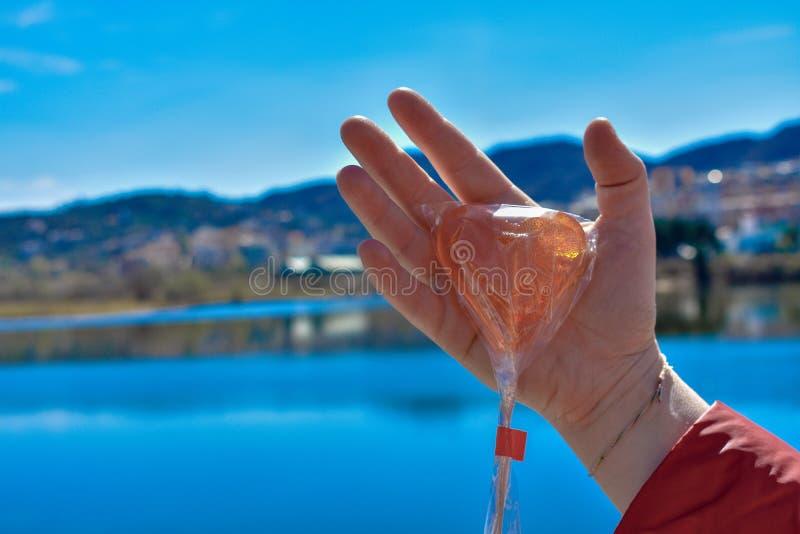 反对湖的一个人的手藏品棒棒糖 免版税库存图片