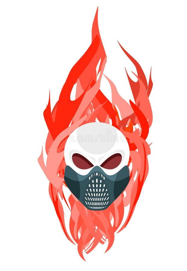 反对火焰背景的头骨防毒面具  皇族释放例证