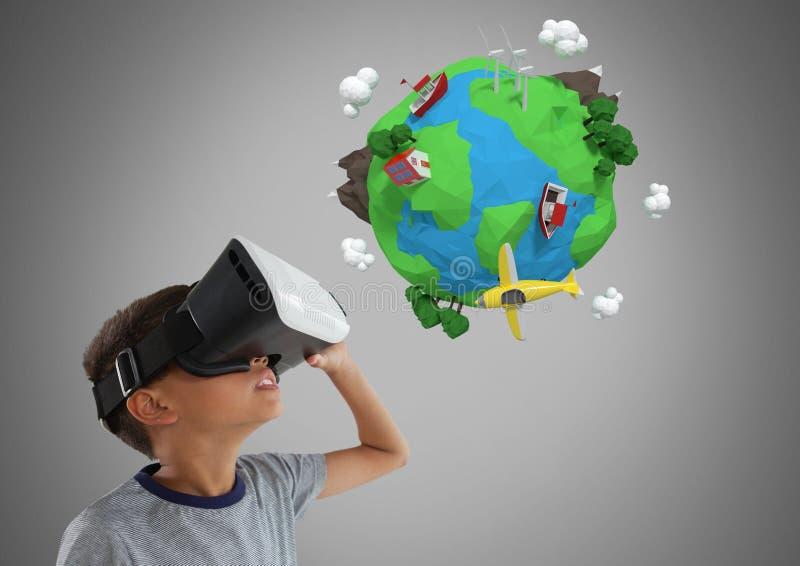 反对灰色背景的男孩与虚拟现实耳机和3D行星地球世界 向量例证