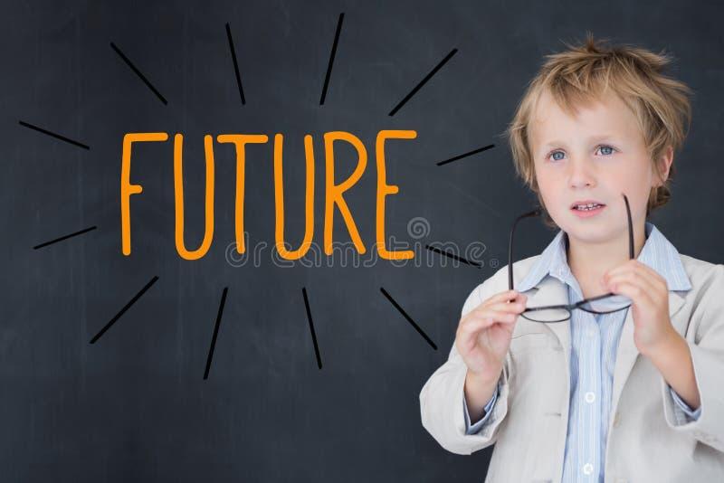 反对男小学生和黑板的未来 免版税库存图片