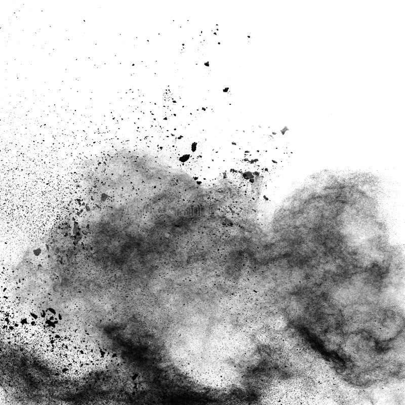 反对白色背景的黑火药爆炸 免版税库存图片