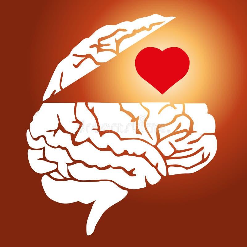反对的标志在爱和原因之间的在男人和妇女 库存例证