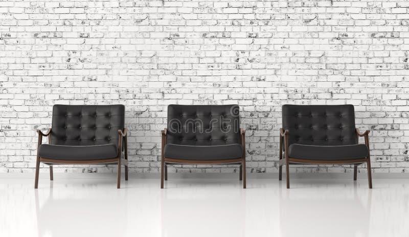 反对砖墙3d翻译的黑扶手椅子 皇族释放例证
