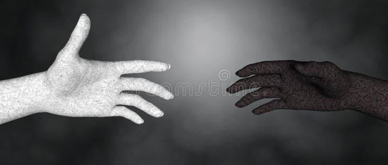 反对种族主义的损坏的黑白人的手 库存例证
