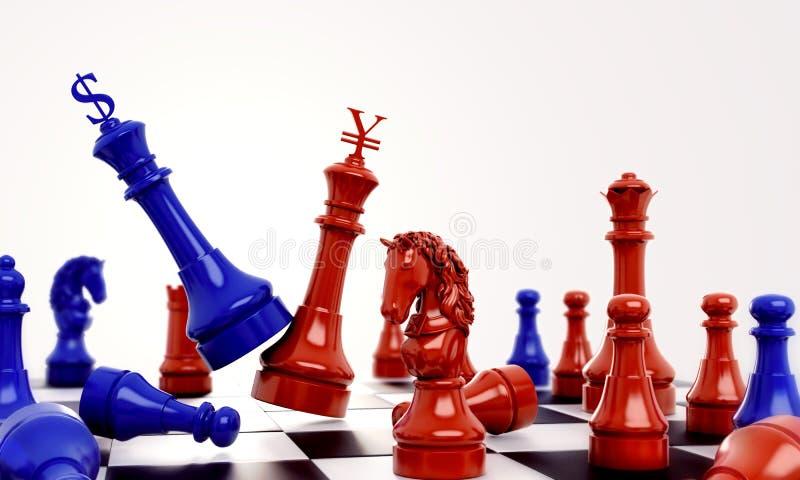 反对红色棋的蓝色棋与美元和元人民币标志商标 皇族释放例证