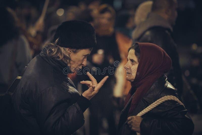 反对罗希亚蒙塔讷金矿,布加勒斯特,罗马尼亚的抗议 免版税库存照片