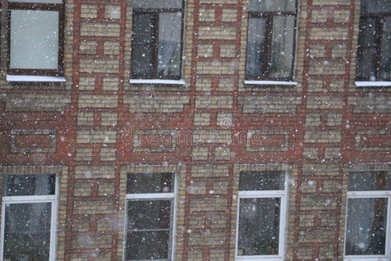 反对老房子的背景的飞雪 库存图片