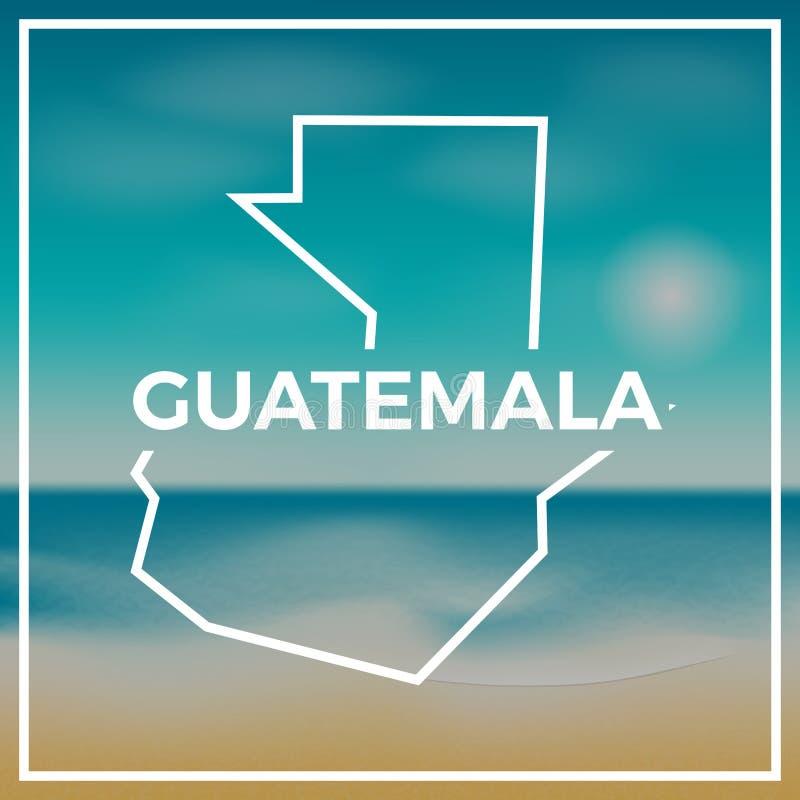 反对背景的危地马拉地图概略的概述 向量例证