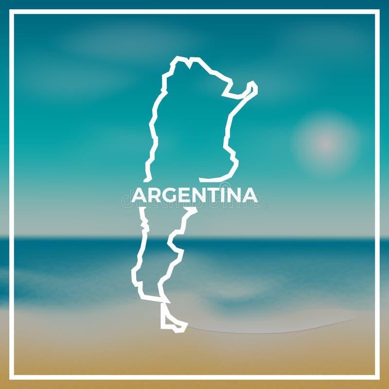 反对背景的阿根廷地图概略的概述 向量例证