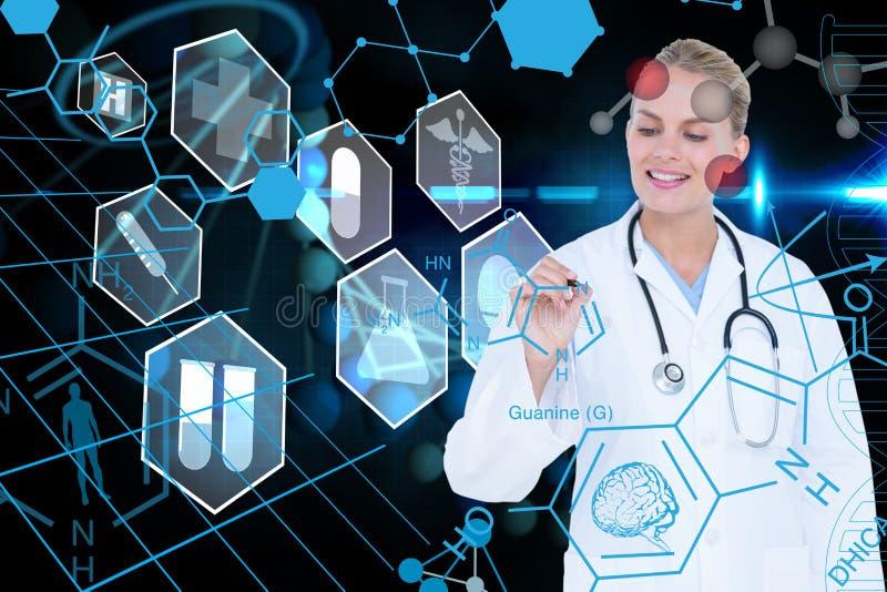 反对脱氧核糖核酸图表背景的医疗模型图画 皇族释放例证
