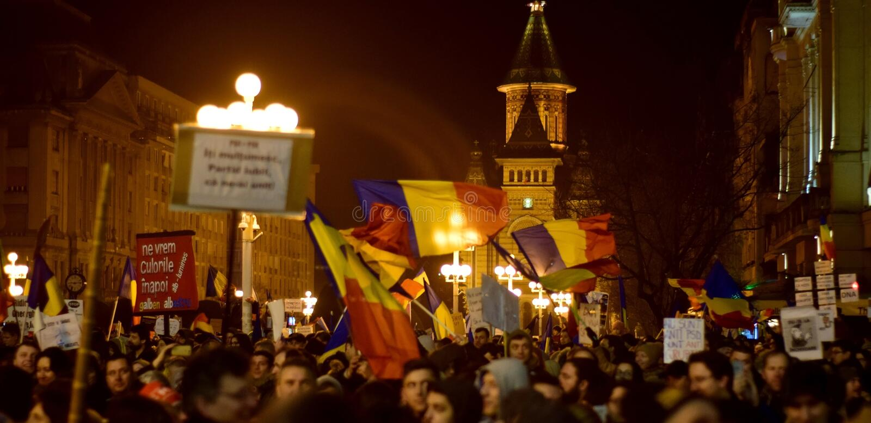 反对腐败蒂米什瓦拉罗马尼亚的人们 免版税图库摄影