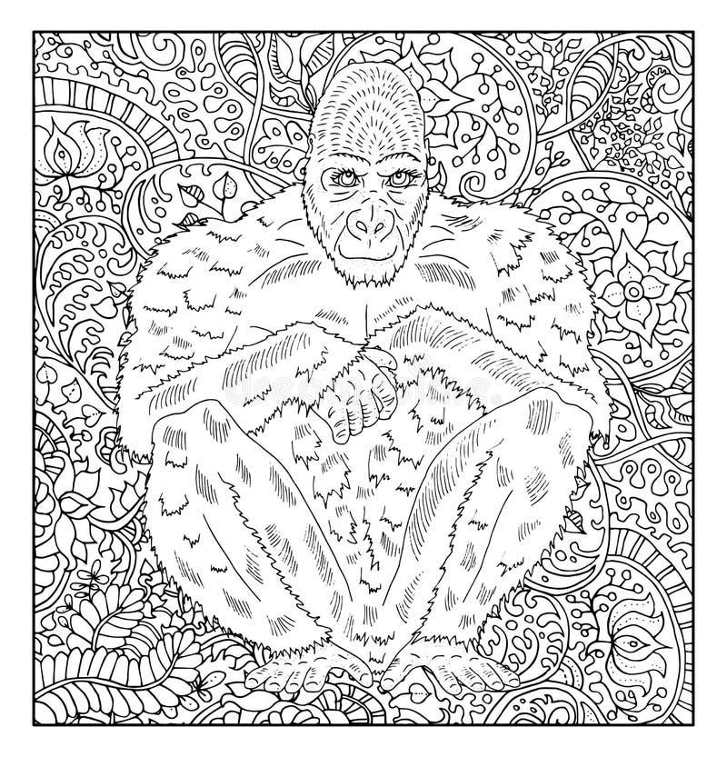 反对花卉样式背景的手拉的猴子 皇族释放例证