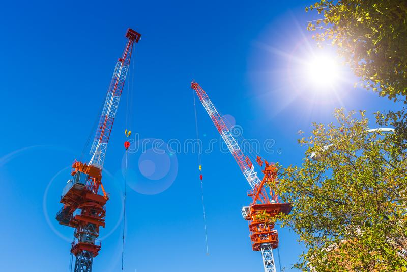 反对蓝天晴朗的夏季的两台起重机卷扬机 免版税库存照片