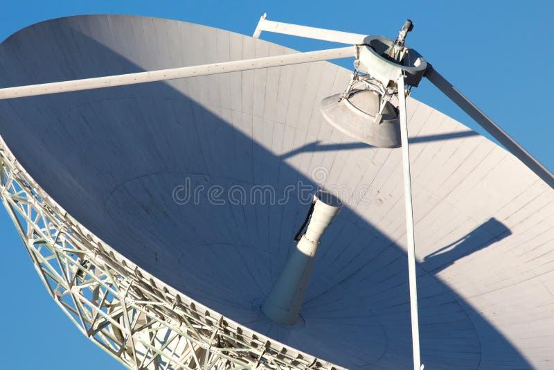 反对蓝天的无线电望远镜 免版税库存图片