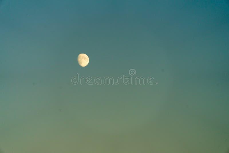 反对蓝天的月亮 月亮在天之前 库存图片