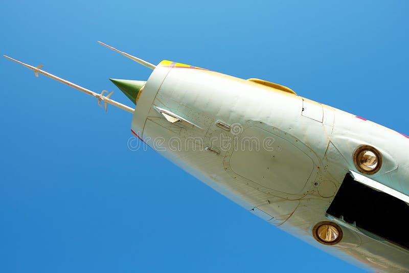 反对蓝天, 60 ` s,弓的俄国战斗机suy7航空器 免版税库存图片