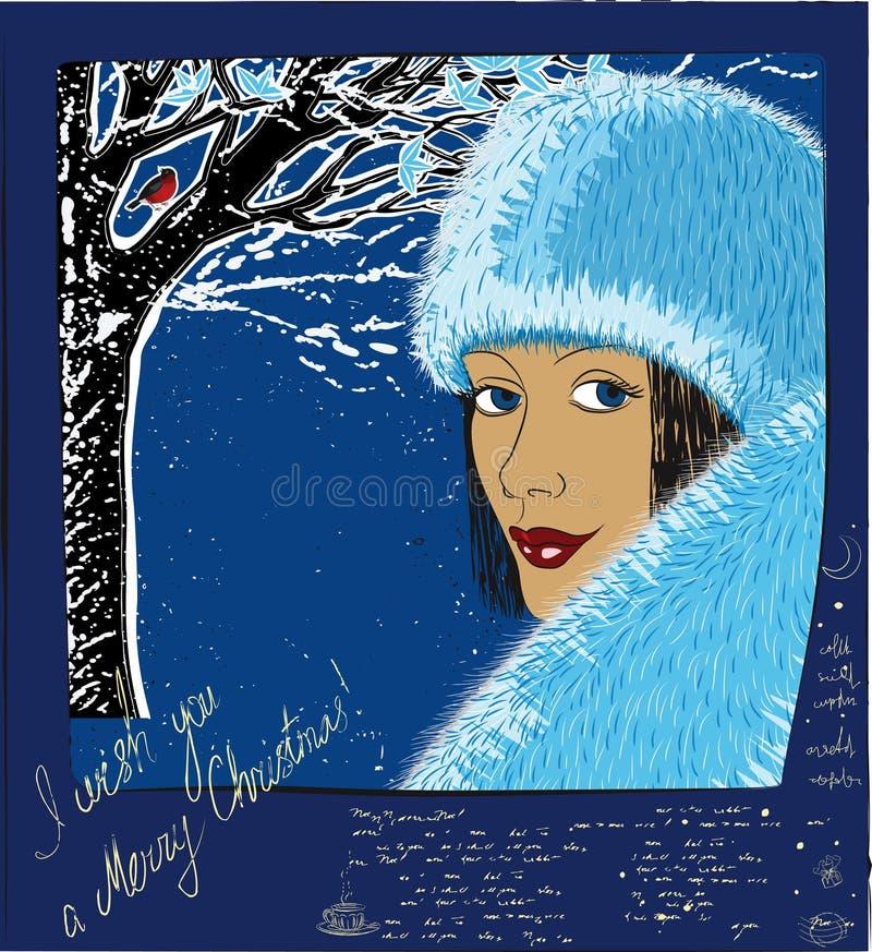 反对蓝色冬天风景背景的冬天女孩 免版税库存照片