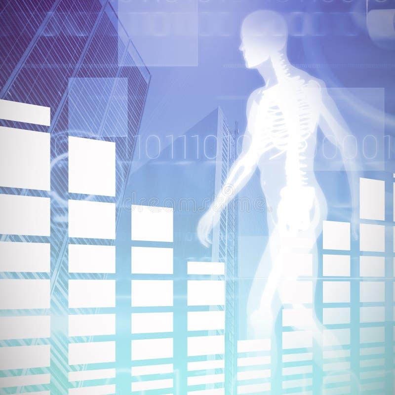 反对蓝色技术设计的综合图象的黑白长条图与二进制编码的 向量例证