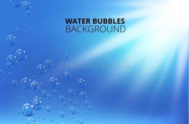 反对蓝色波浪背景的水泡影 也corel凹道例证向量 皇族释放例证