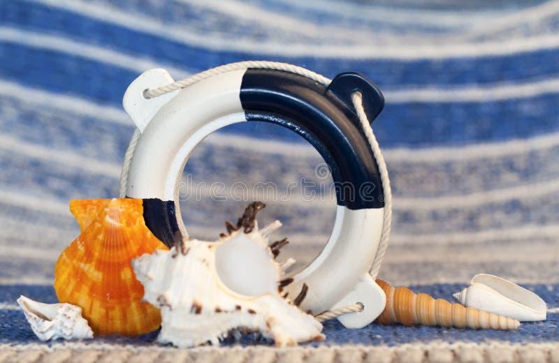 反对蓝色波浪背景的装饰海洋装饰  库存图片