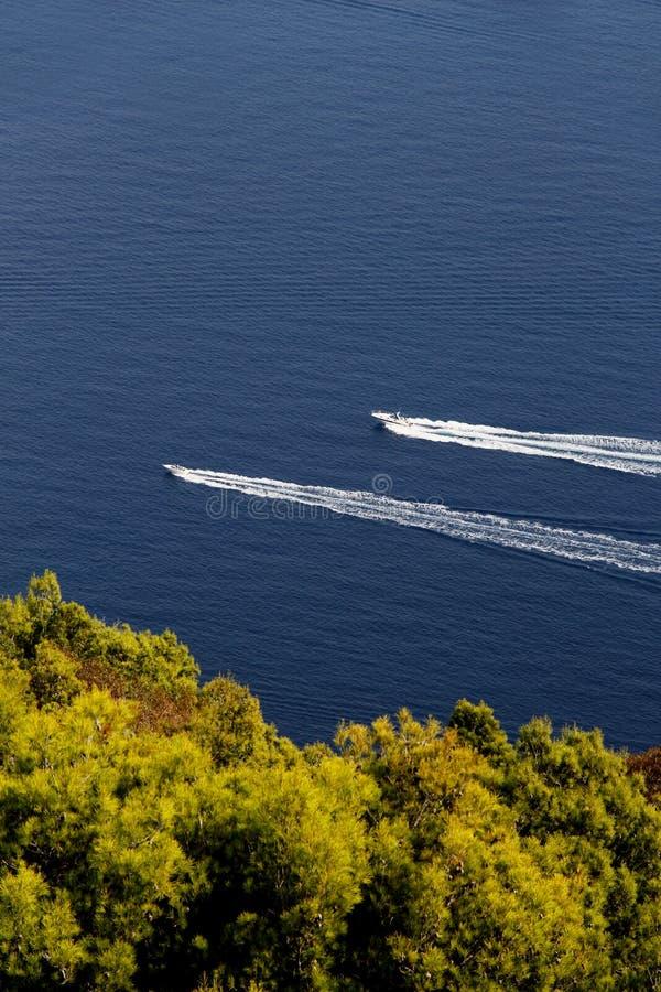 反对蓝色海和树的两艘汽艇 库存图片