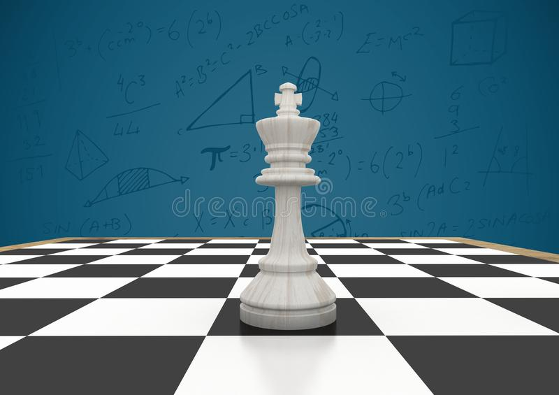 反对蓝色背景的棋子与算术乱画 免版税库存照片