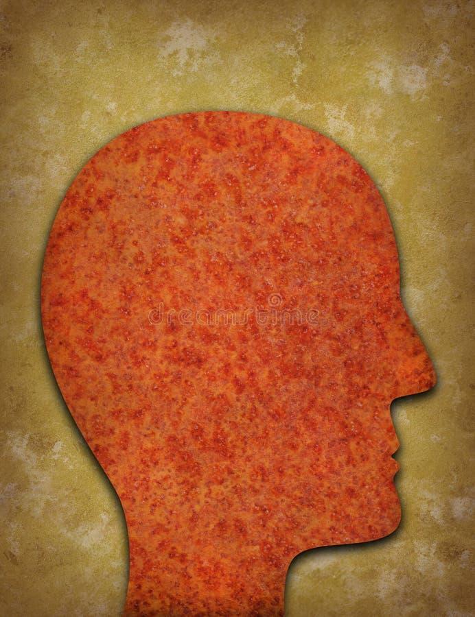 反对被染黄的背景的生锈的顶头剪影 库存图片