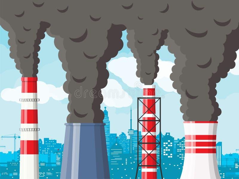 反对都市风景明白天空的抽烟的工厂管子 库存例证
