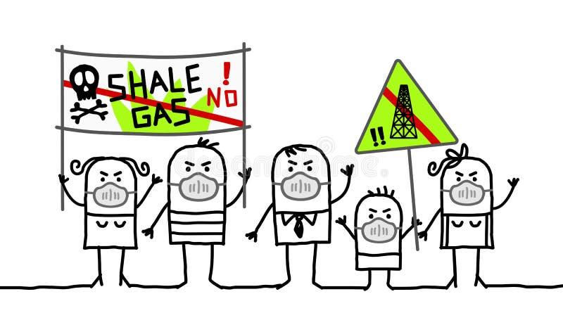 反对页岩气体的人们 库存例证