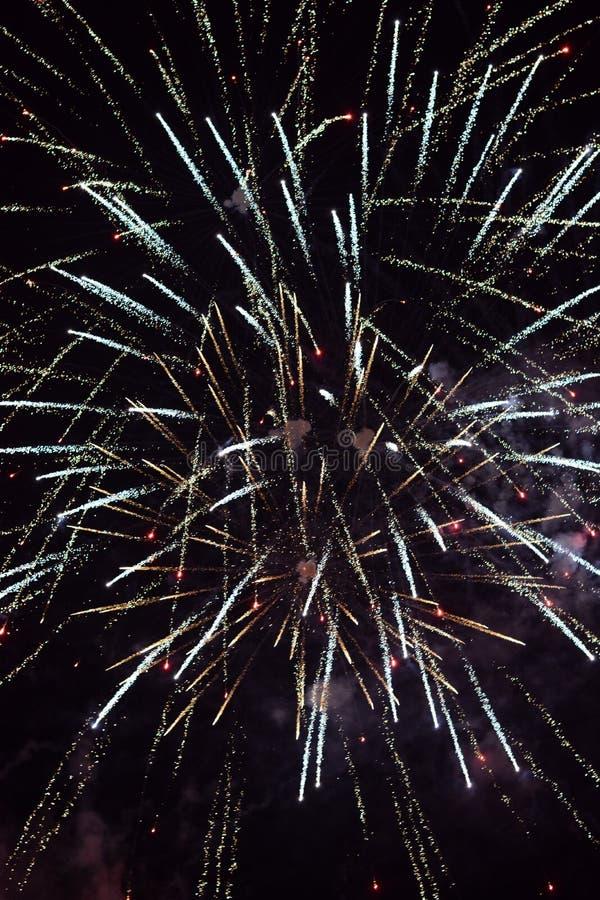 反对黑暗的背景的新年快乐烟花 库存照片