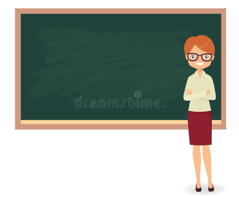 反对黑板背景的年轻女老师 皇族释放例证