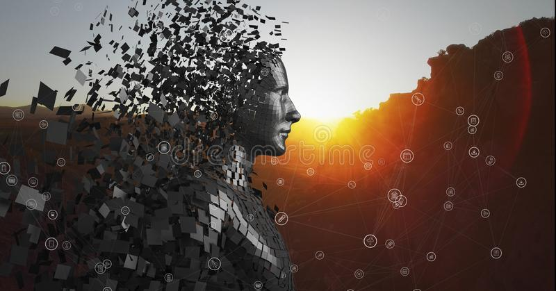 反对黑男性AI和山的白色网络与日落 向量例证