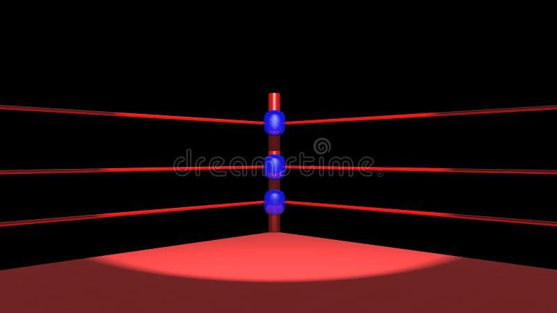 反对黑背景的拳击台 向量例证