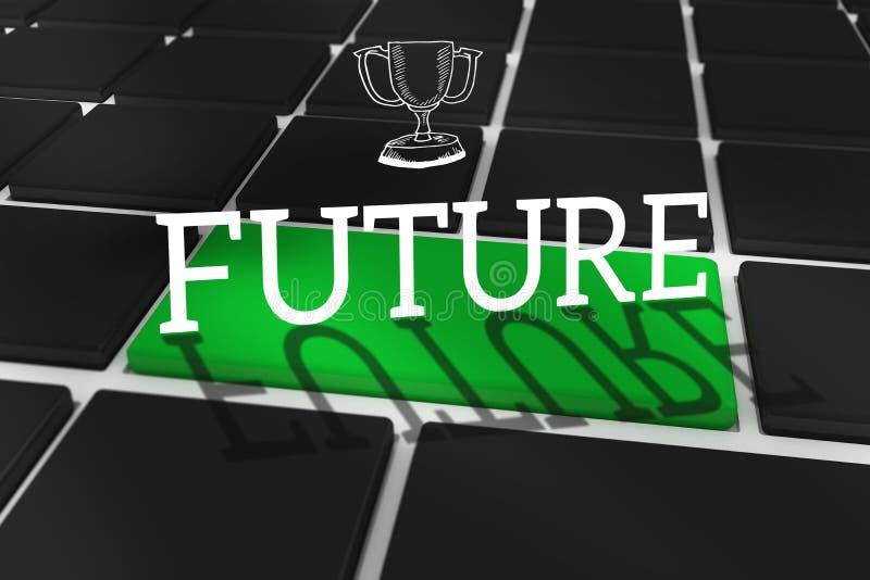 反对黑键盘的未来有绿色钥匙的 免版税库存照片