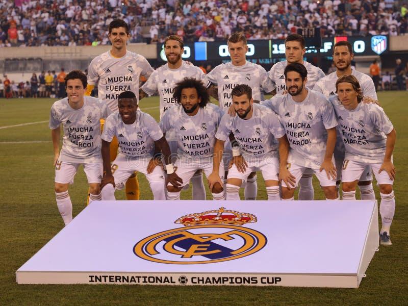 反对Atletico在2019国际冠军杯比赛的de马德里的皇家马德里联盟在美国大都会保险公司体育场 免版税库存图片