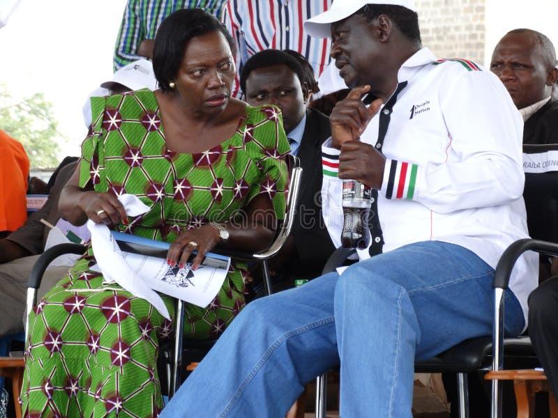 反对learder (O d M) 拉伊拉・奥廷加和反对里尔(Nark肯尼亚) Matha Karua 免版税库存图片