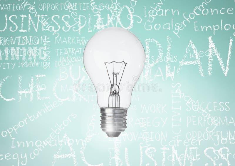 反对turqouise背景的电灯泡与企业书面的白垩词 皇族释放例证