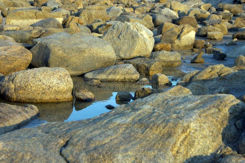 反射在浪潮水池的岩石在日落在阿尔巴尼,WA,澳大利亚附近 库存照片